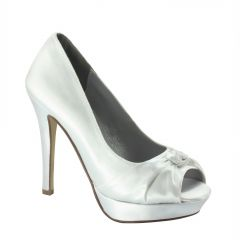 Ada White Satin Peeptoe Womens Bridal Pumps - Shoes from Dyeables by Dyeables