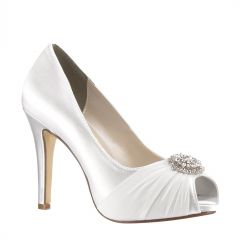 Antonia White Satin Peeptoe Womens Bridal Pumps - Shoes from Touch Ups by Benjamin Walk