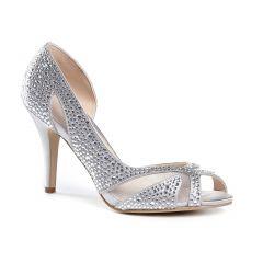 Catrina Silver Satin Peeptoe Womens Prom Pumps - Shoes by Paradox London