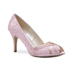 Cherie Blush Satin Lace Peeptoe Womens Bridal Pumps - Shoes by Paradox London