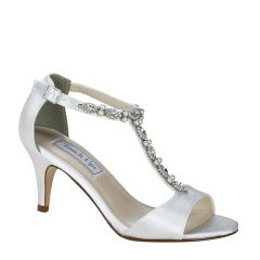 Donna White Satin Open Toe Womens Bridal Sandals - Shoes from Touch Ups by Benjamin Walk