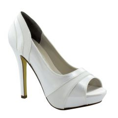 Emmy White Satin/Crepe Peeptoe Womens Bridal Pumps - Shoes from Touch Ups by Benjamin Walk