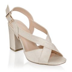 Hibiscus Champagne Shimmer Open Toe Womens Evening / Prom Sandals - Shoes by Paradox London
