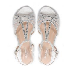 Jilly Silver Shimmer Open Toe Womens Prom Sandals - Shoes by Paradox London