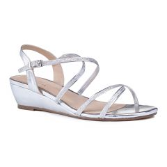 Kadie Silver Glitter Open Toe Womens Prom Sandals - Shoes by Paradox London