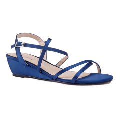 Kadie Navy Satin Open Toe Womens Evening / Prom Sandals - Shoes by Paradox London