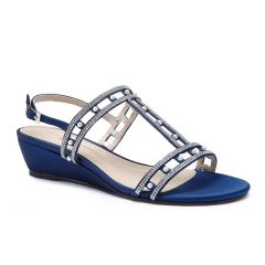 Kamara Navy Satin Open Toe Womens Evening / Prom Sandals - Shoes by Paradox London