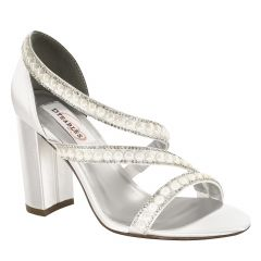 Linda White Satin Open Toe Womens Bridal Sandals - Shoes from Dyeables by Benjamin Walk