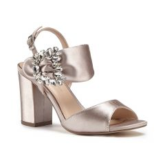 Manhattan Taupe Satin Open Toe Womens Pageant / Evening / Prom Sandals - Shoes by Paradox London