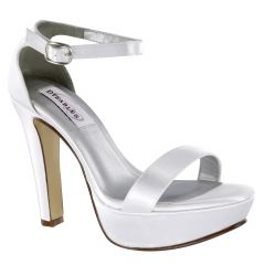 Mary White Satin Open Toe Womens Bridal Sandals - Shoes from Dyeables by Benjamin Walk