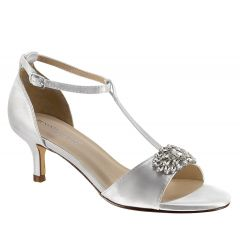 Ophelia White Satin Open Toe Womens Bridal Sandals - Shoes from Dyeables by Benjamin Walk