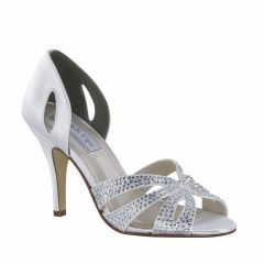 Poise White Satin Open Toe Womens Bridal Sandals - Shoes from Touch Ups by Benjamin Walk
