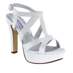 Queenie White Crepe Open Toe Womens Bridal Sandals - Shoes from Dyeables by Benjamin Walk