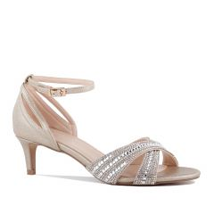Sabrina Champagne Shimmer Print Open Toe Womens Evening / Prom Sandals - Shoes by Paradox London