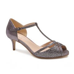 Seva Pewter Shimmer Open Toe Womens Evening / Prom Sandals - Shoes by Paradox London