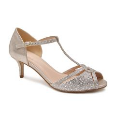 Seva Champagne Shimmer Open Toe Womens Evening / Prom Sandals - Shoes by Paradox London