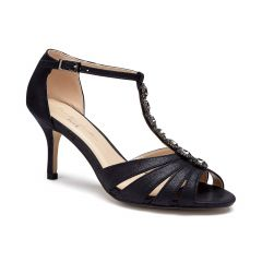 Sibel Black Shimmer Open Toe Womens Evening Sandals - Shoes by Paradox London