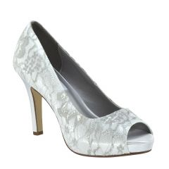 Winter White Satin/Lace Peeptoe Womens Bridal Pumps - Shoes from Dyeables by Dyeables